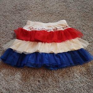 Disney Skirt Tutu Minnie 5T Red White Blue Ruffle